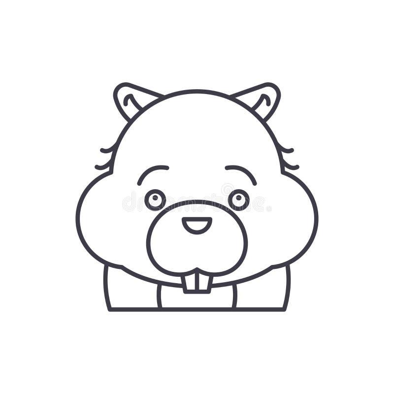 Línea divertida concepto del castor del icono Ejemplo linear del vector divertido del castor, símbolo, muestra libre illustration