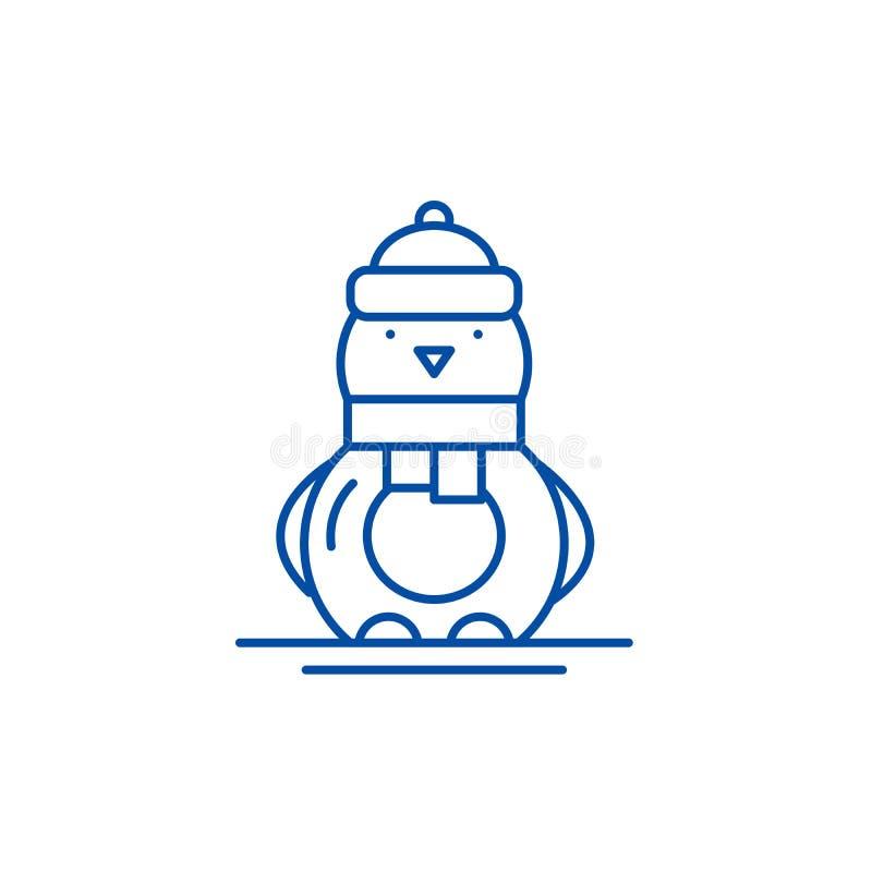 Línea divertida concepto del pingüino del icono Símbolo plano del vector del pingüino divertido, muestra, ejemplo del esquema stock de ilustración