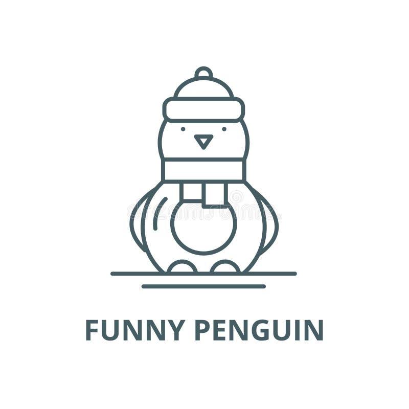 Línea divertida icono, concepto linear, muestra del esquema, símbolo del vector del pingüino ilustración del vector