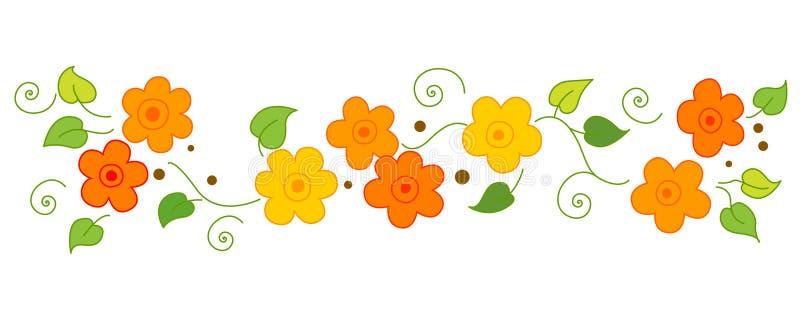 Línea/divisor de las flores stock de ilustración