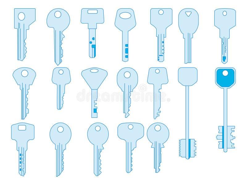 Línea dominante iconos fijados, gráfico stock de ilustración