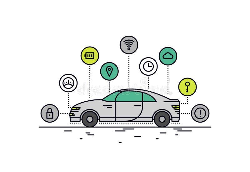 Línea Driverless ejemplo del coche del estilo stock de ilustración