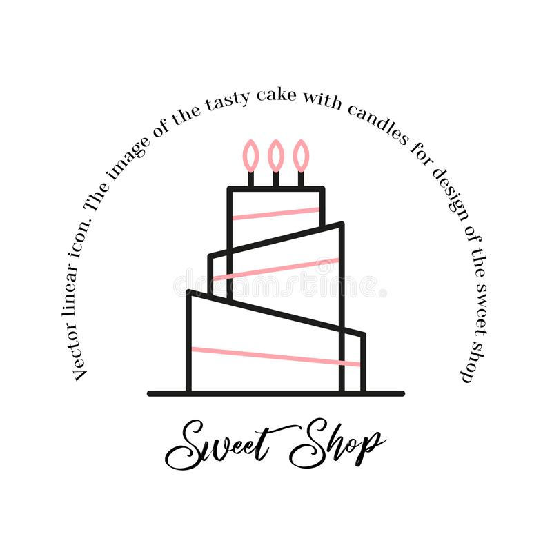 Línea dulce icono de la tienda del vector de la torta del icono de la torta de cumpleaños del ejemplo ilustración del vector