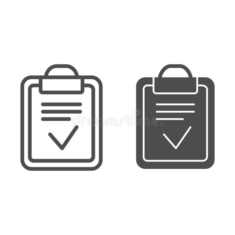 Línea e icono hechos tablero del glyph Ejemplo hecho del vector de la lista aislado en blanco Papel con estilo del esquema del co stock de ilustración