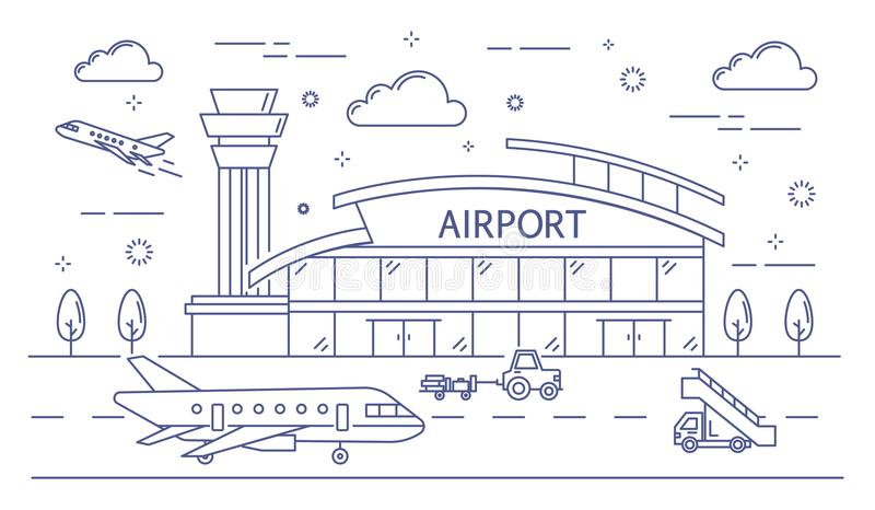 Línea edificio del aeropuerto libre illustration