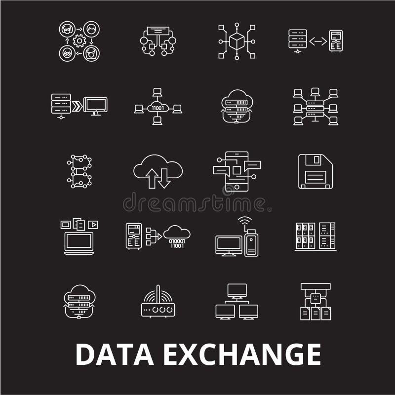 Línea editable de intercambio de datos sistema del vector de los iconos en fondo negro Ejemplos blancos de intercambio de datos d ilustración del vector