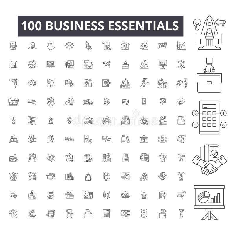 Línea editable iconos, sistema de 100 vectores, colección del esencial del negocio Ejemplos negros del esquema del esencial del n ilustración del vector
