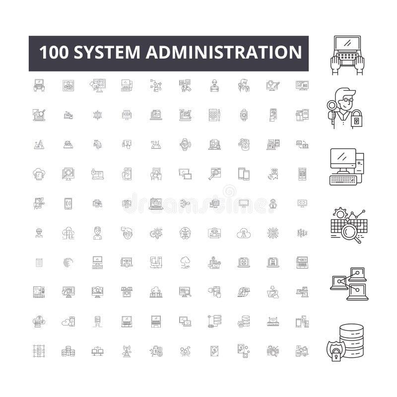 Línea editable iconos, sistema de 100 vectores, colección de la administración del sistema Ejemplos del esquema del negro de la a ilustración del vector