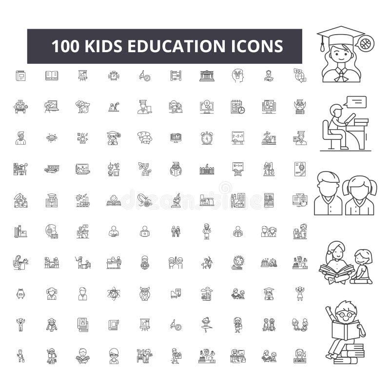 Línea editable iconos, sistema de 100 vectores, colección de la educación de los niños Ejemplos del esquema del negro de la educa libre illustration