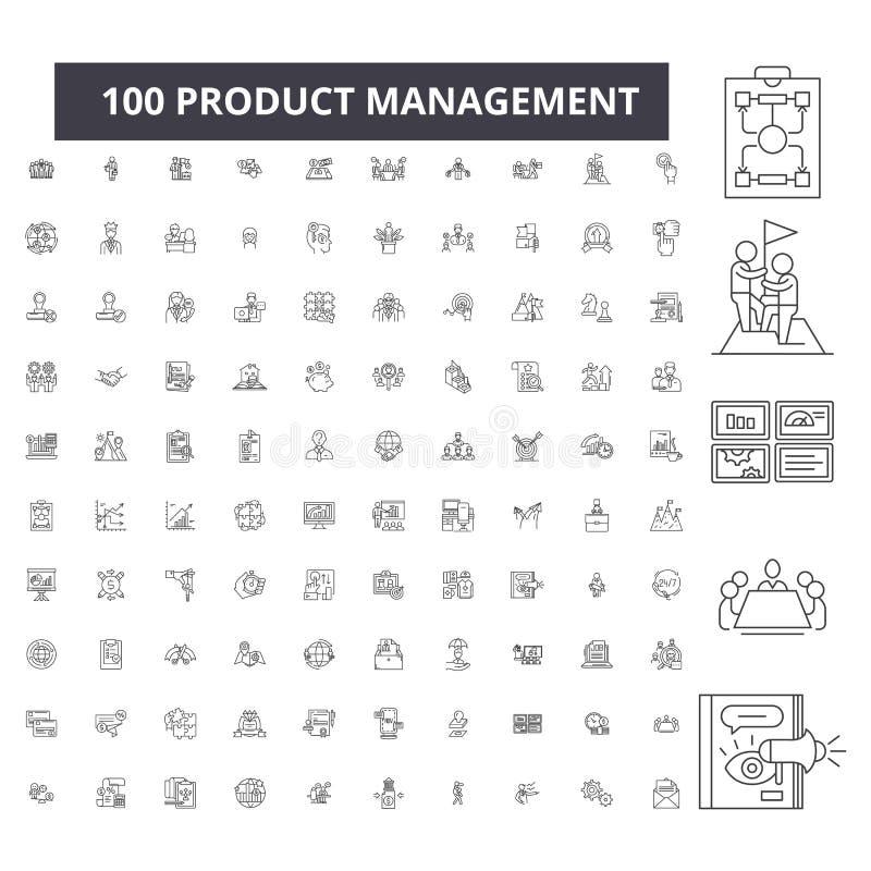 Línea editable iconos, sistema de 100 vectores, colección de la gestión de productos Ejemplos negros del esquema de la gestión de stock de ilustración