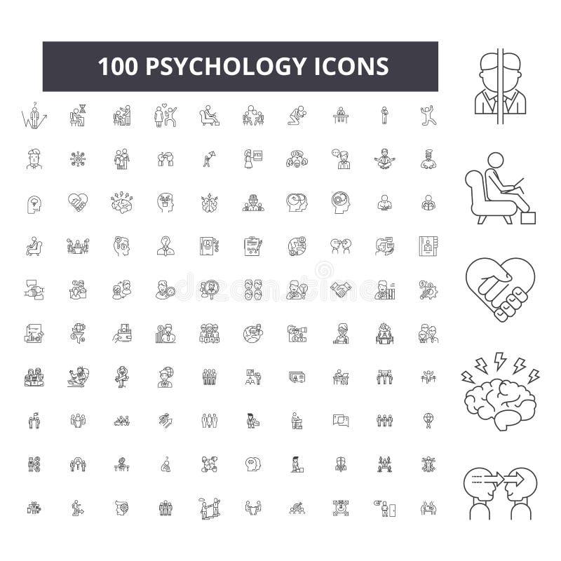 Línea editable iconos, sistema de 100 vectores, colección de la psicología Ejemplos negros del esquema de la psicología, muestras stock de ilustración