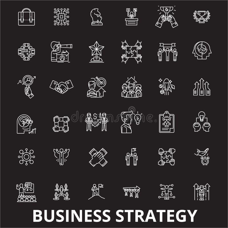 Línea editable sistema de la estrategia empresarial del vector de los iconos en fondo negro Ejemplos blancos del esquema de la es stock de ilustración