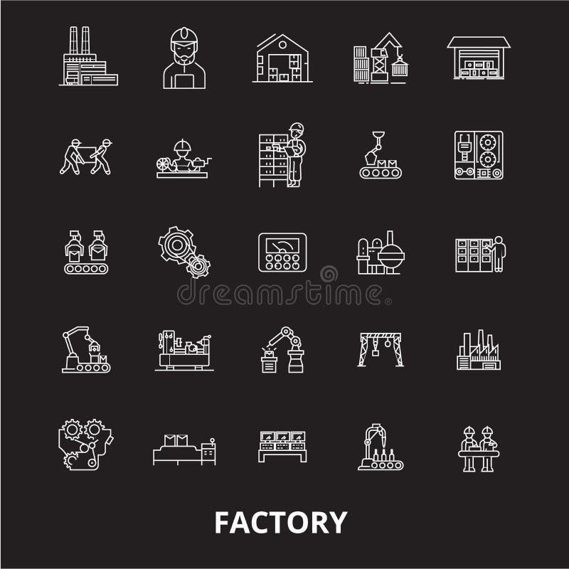 Línea editable sistema de la fábrica del vector de los iconos en fondo negro Ejemplos blancos del esquema de la fábrica, muestras ilustración del vector