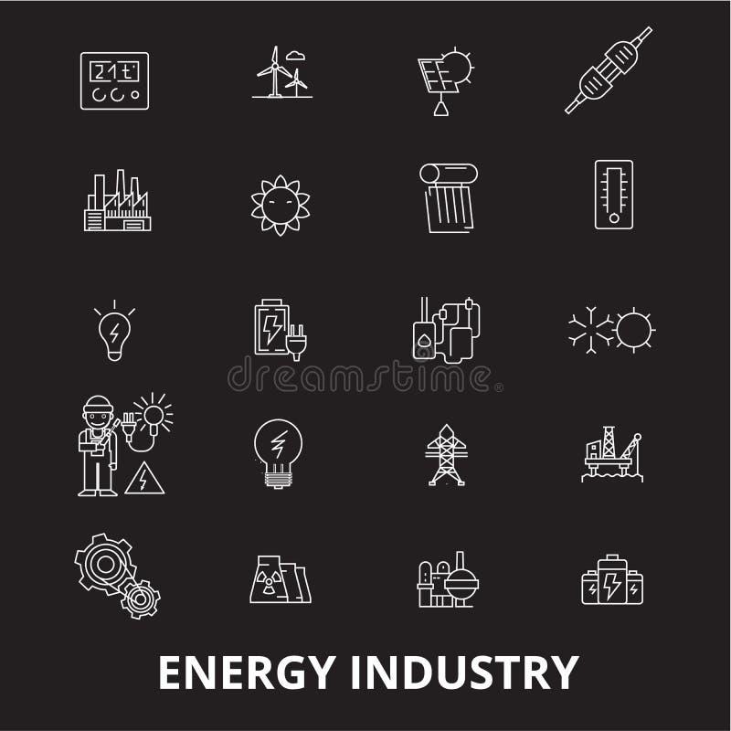 Línea editable sistema de la industria energética del vector de los iconos en fondo negro Ejemplos blancos del esquema de la indu ilustración del vector