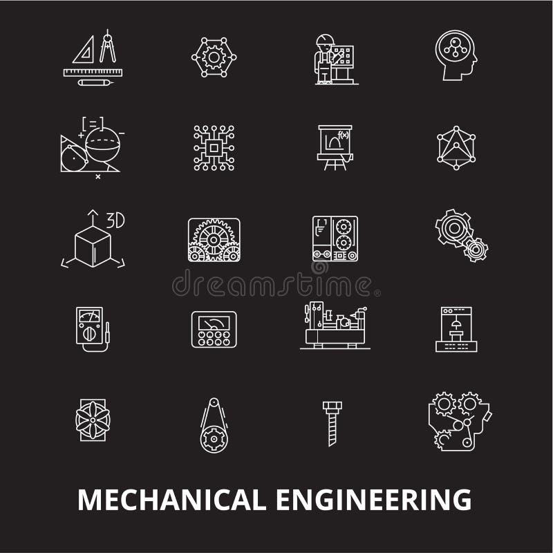 Línea editable sistema de la ingeniería industrial del vector de los iconos en fondo negro Esquema blanco de la ingeniería indust ilustración del vector