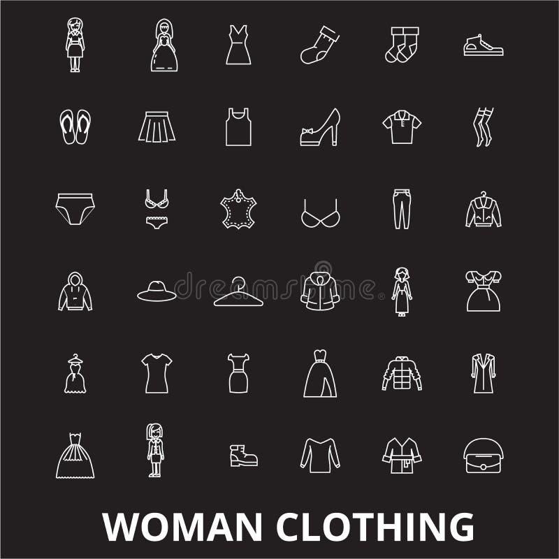 Línea editable sistema de la ropa de la mujer del vector de los iconos en fondo negro Ejemplos blancos del esquema de la ropa de  libre illustration