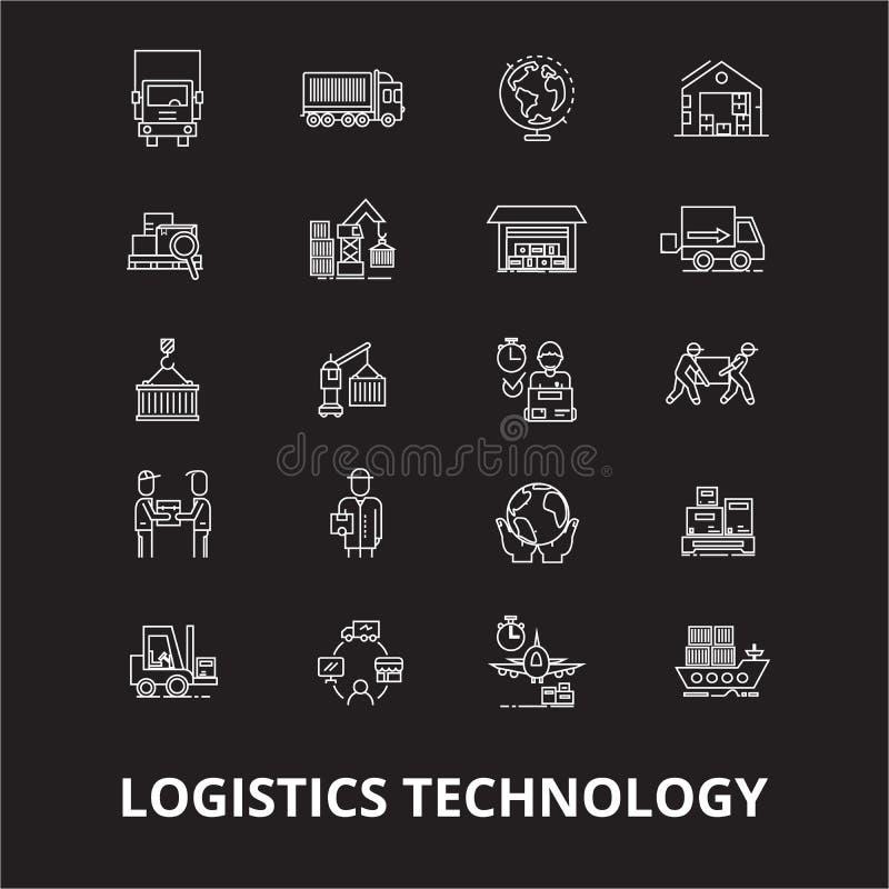 Línea editable sistema de la tecnología de la logística del vector de los iconos en fondo negro Esquema blanco de la tecnología d ilustración del vector