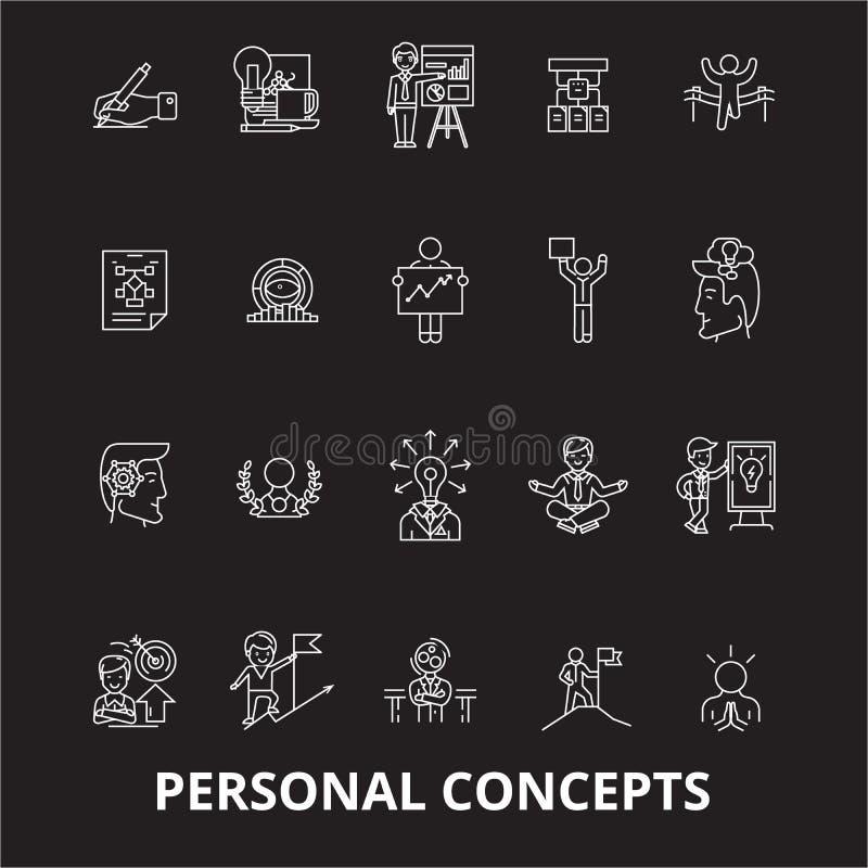 Línea editable sistema de los conceptos personales del vector de los iconos en fondo negro Ejemplos blancos del esquema de los co ilustración del vector