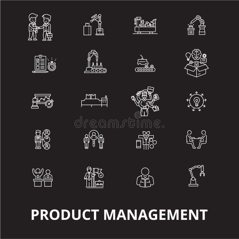 Línea editable sistema de los iconos de la gestión del proyecto del vector de los iconos en fondo negro Esquema blanco de los ico stock de ilustración