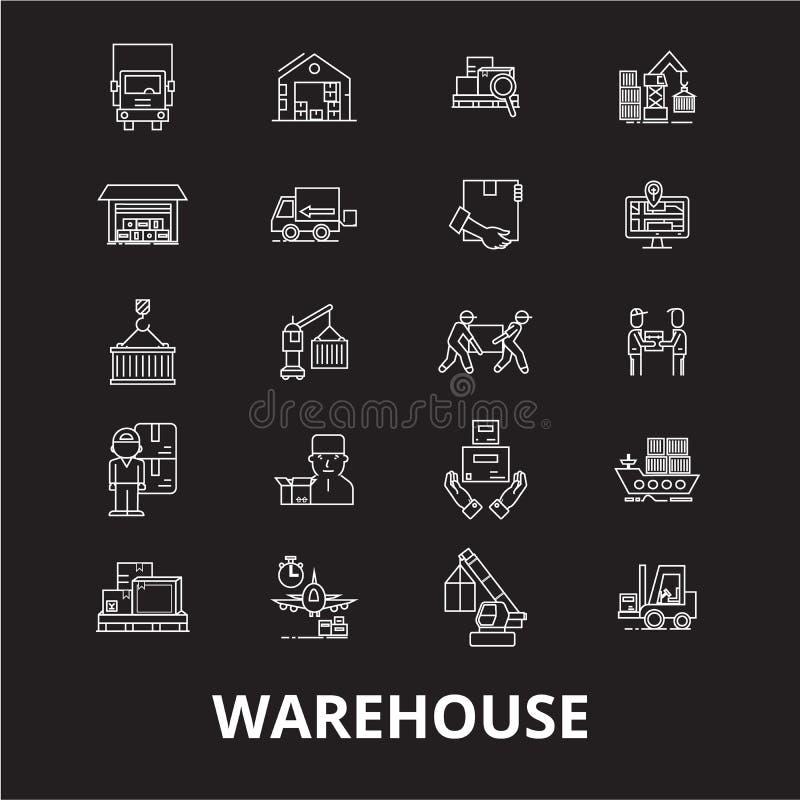 Línea editable sistema de Warehouse del vector de los iconos en fondo negro Ejemplos blancos del esquema de Warehouse, muestras,  ilustración del vector
