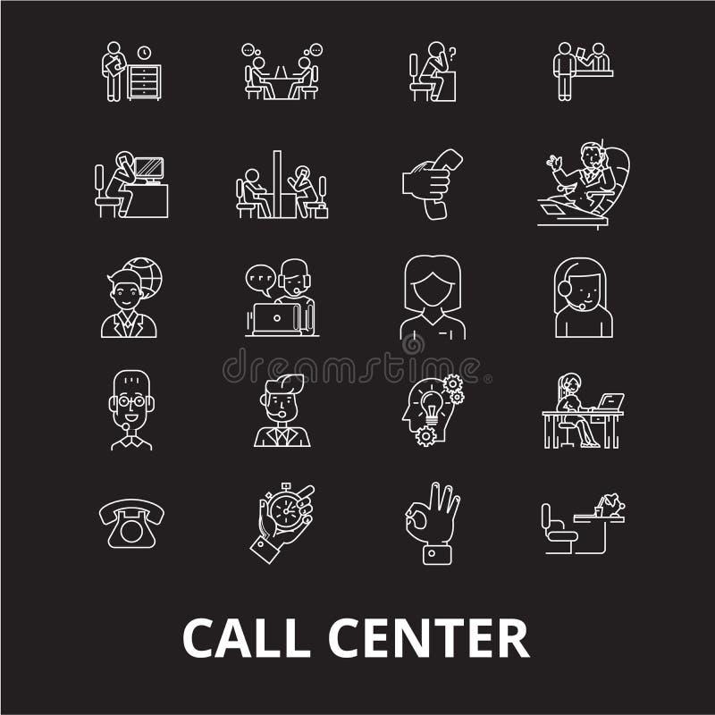 Línea editable sistema del centro de atención telefónica del vector de los iconos en fondo negro Ejemplos blancos del esquema del ilustración del vector