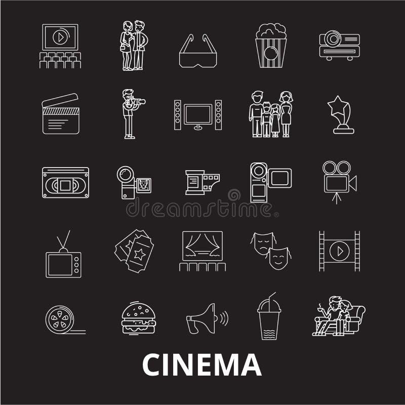 Línea editable sistema del cine del vector de los iconos en fondo negro Ejemplos blancos del esquema del cine, muestras, símbolos ilustración del vector