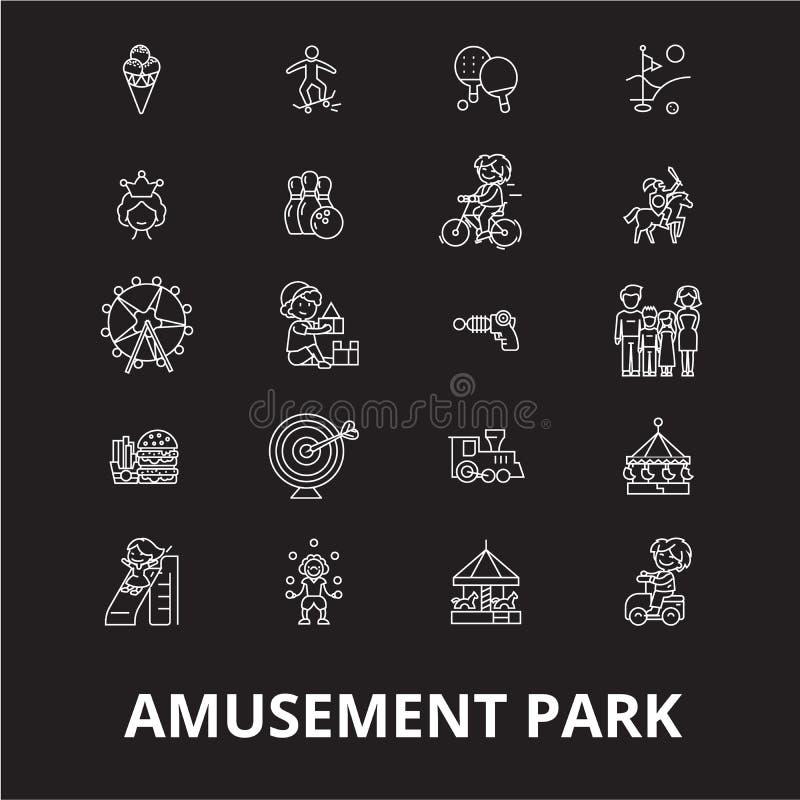 Línea editable sistema del parque de atracciones del vector de los iconos en fondo negro Ejemplos blancos del esquema del parque  libre illustration