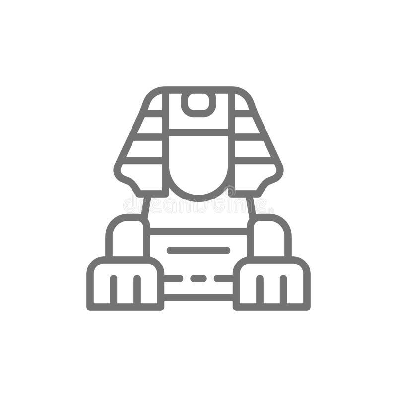 Línea egipcia icono de la esfinge stock de ilustración