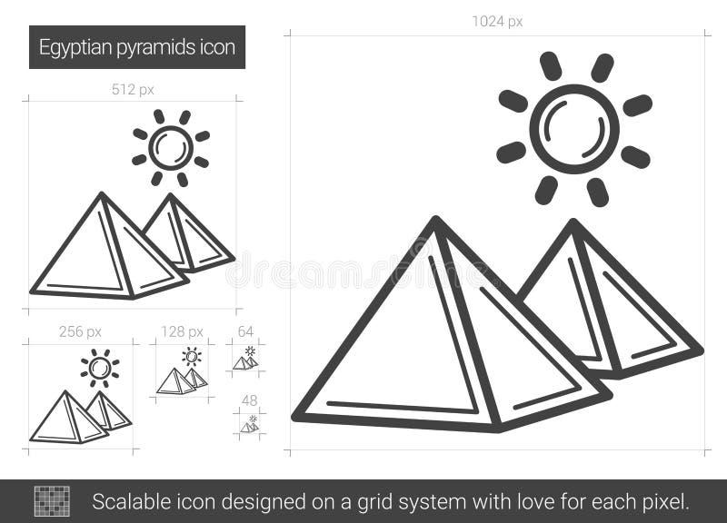 Línea egipcia icono de la pirámide ilustración del vector