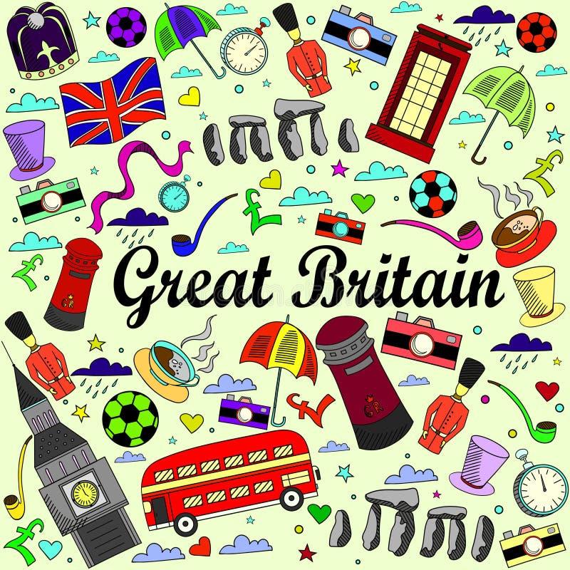 Línea ejemplo de Gran Bretaña del vector del diseño del arte ilustración del vector