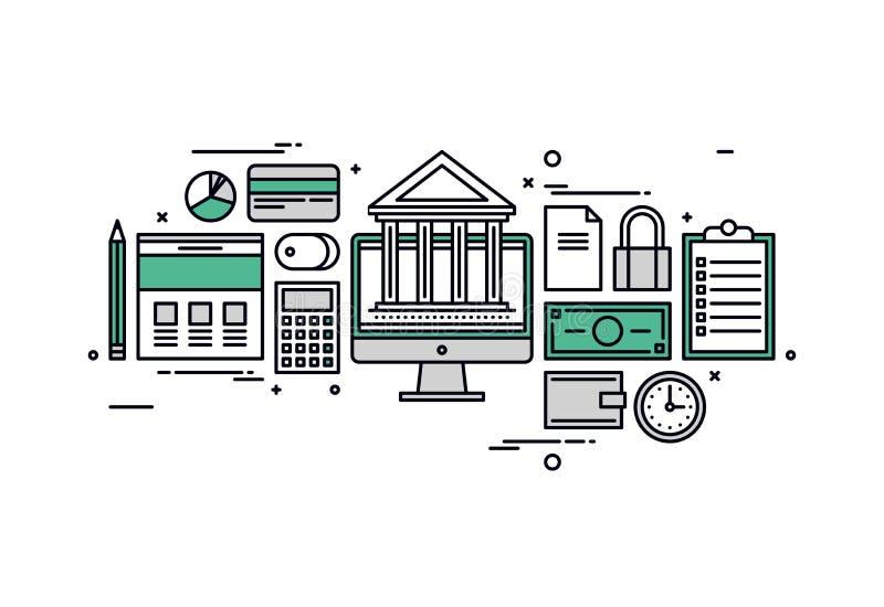 Línea ejemplo de la actividad bancaria y de las finanzas del estilo libre illustration
