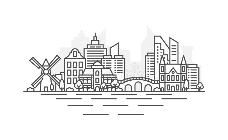 Línea ejemplo de la arquitectura de Amsterdam, Países Bajos del horizonte Paisaje urbano linear con las se?ales famosas, ciudad d libre illustration