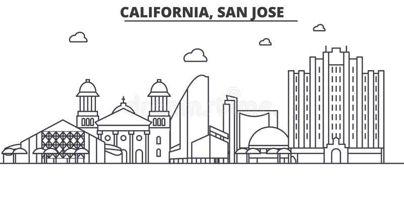 Línea ejemplo de la arquitectura de California San Jose del horizonte Paisaje urbano linear con las señales famosas, vistas del v libre illustration