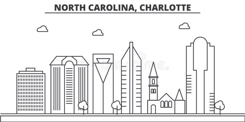 Línea ejemplo de la arquitectura de Carolina del Norte, Charlotte del horizonte Paisaje urbano linear con las señales famosas, ci stock de ilustración