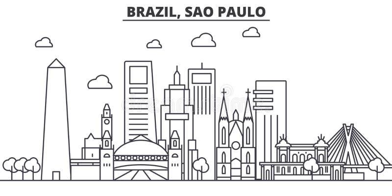 Línea ejemplo de la arquitectura del Brasil, Sao Paulo del horizonte Paisaje urbano linear con las señales famosas, vistas del ve libre illustration