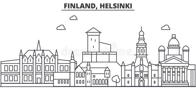 Línea ejemplo de la arquitectura de Finlandia, Helsinki del horizonte Paisaje urbano linear con las señales famosas, vistas del v ilustración del vector