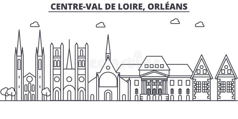 Línea ejemplo de la arquitectura de Francia, Orleans del horizonte Paisaje urbano linear con las señales famosas, vistas del vect ilustración del vector