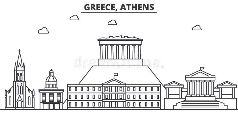 Línea ejemplo de la arquitectura de Grecia, Atenas del horizonte Paisaje urbano linear con las señales famosas, vistas del vector ilustración del vector