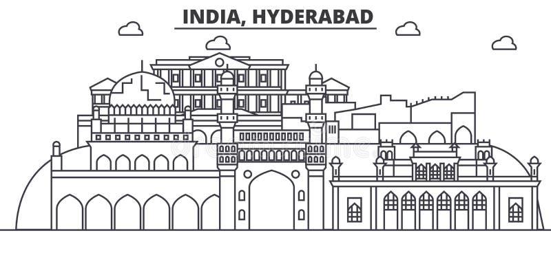 Línea ejemplo de la arquitectura de Hyderabad, la India del horizonte Paisaje urbano linear con las señales famosas, vistas del v stock de ilustración