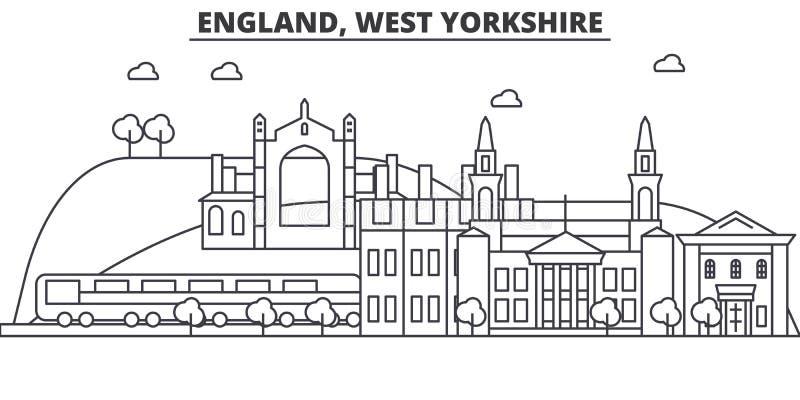 Línea ejemplo de la arquitectura de Inglaterra, West Yorkshire del horizonte Paisaje urbano linear con las señales famosas, ciuda libre illustration
