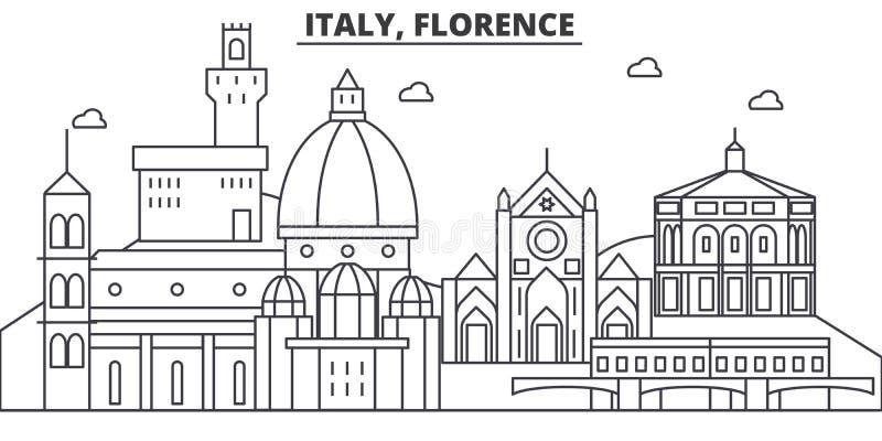 Línea ejemplo de la arquitectura de Italia, Florencia del horizonte Paisaje urbano linear con las señales famosas, vistas del vec ilustración del vector