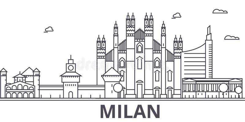 Línea ejemplo de la arquitectura de Milán del horizonte Paisaje urbano linear con las señales famosas, vistas de la ciudad, icono libre illustration
