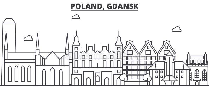 Línea ejemplo de la arquitectura de Polonia, Gdansk del horizonte Paisaje urbano linear con las señales famosas, vistas del vecto stock de ilustración