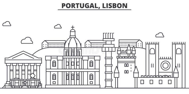 Línea ejemplo de la arquitectura de Portugal, Lisboa del horizonte Paisaje urbano linear con las señales famosas, vistas del vect ilustración del vector