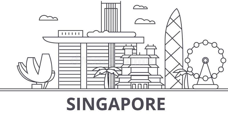 Línea ejemplo de la arquitectura de Singapur del horizonte Paisaje urbano linear con las señales famosas, vistas de la ciudad, di stock de ilustración
