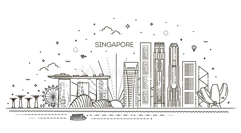 Línea ejemplo de la arquitectura de Singapur del horizonte Paisaje urbano linear del vector con las señales famosas stock de ilustración