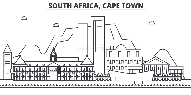 Línea ejemplo de la arquitectura de Suráfrica, Cape Town del horizonte Paisaje urbano linear con las señales famosas, ciudad del  ilustración del vector