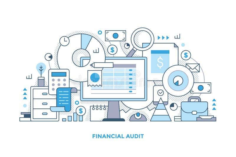Línea ejemplo de la auditoría financiera ilustración del vector
