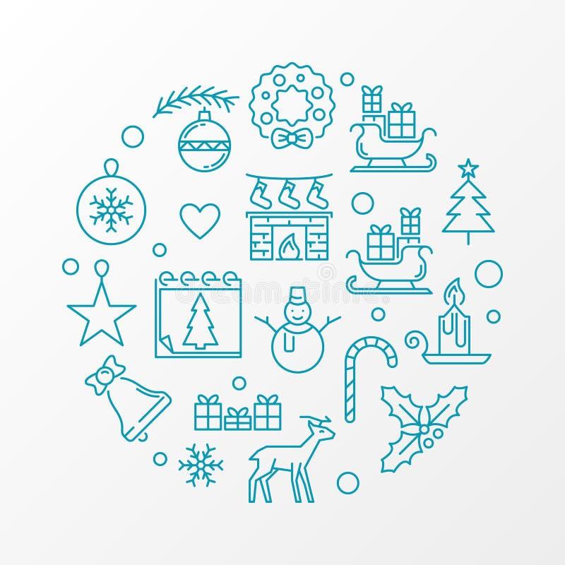 Línea ejemplo de la Feliz Navidad Tarjeta azul de Navidad del vector stock de ilustración