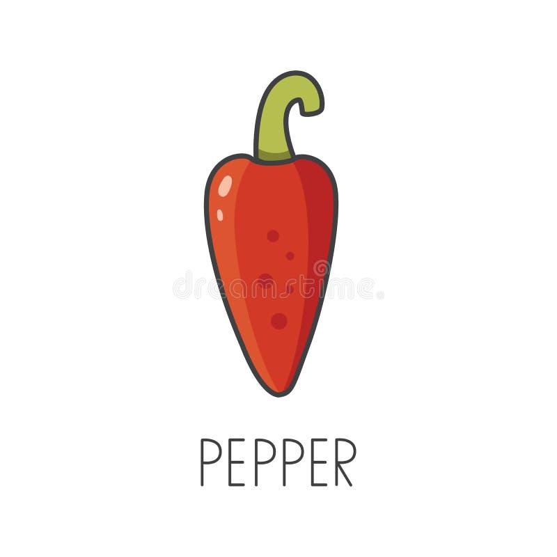 Línea ejemplo de la pimienta de chile del vector, cocinando el icono aislado stock de ilustración